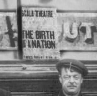 detail from the early photograph of 'The Railway Tavern', of a poseter for the Film 'Birth of a Nation'
